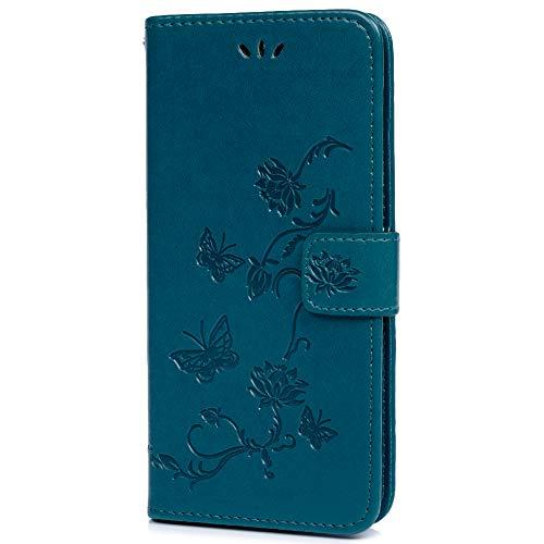 Google Pixel 3 Handytasche Kompatible für Google Pixel 3 Hülle Lotus Schmetterling Flip Case Cover PU Leder Tasche Handyhülle Schutzhülle Skin Ständer Klappbar Schale Bumper Magnet Deckel Blau