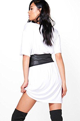 Damen Lilas Elyse 2-in-1-T-Shirt-Kleid mit Korsagen-Gürtel und V-Ausschnitt Lilas