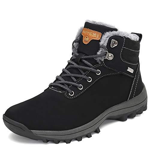 Pastaza Stivali da Neve Uomo Donna Trekking Scarpe Inverno Impermeabili Outdoor Pelliccia Sneakers Nero,40EU