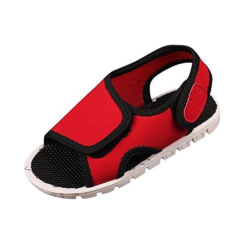 FEITONG Jungen Sandalen Kinder Outdoor Sandalen Trekking-& Wanderschuhe Sommer Stand Schuhe Kinder Klettverschluss Sandalen Sport Schuhe (CN 24, Rot)