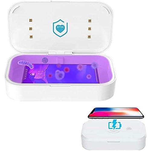 ETIK SRL Sterilizzatore Mascherine UV Sanitizer Caricatore Wireless Smartphone - Sterilizzatore UV Professionale 2 Modalità - Sterilizzatore UVC Portatile per Oggetti e Sterilizzatore Cellulare