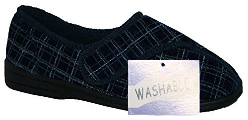mens-fully-washable-ladies-touch-fastening-strap-shoe-slipper-navy-9
