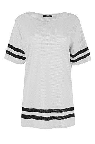 Damen Einfarbig Schlabber Airtex Sport Streifen Kurzärmeliges Top Damen Freizeit Party Langes Top Übergrößen T-shirt - Weiß, 36/38 (Shirt Lange Top Slv)