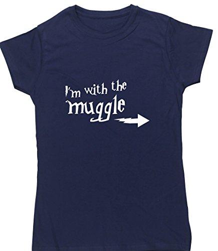 Hippowarehouse Muggle Damen Fitted Short Sleeve T-Shirt (bestimmte Größenangaben in der Beschreibung) Gr. Small, Marineblau (Abenteuer T-shirt Fitted)
