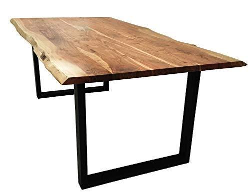 Massivholz Tisch (SAM Baumkantentisch 200x100 cm Quarto, Esszimmertisch aus Akazie, Holz-Tisch mit Schwarz lackierten Beinen)