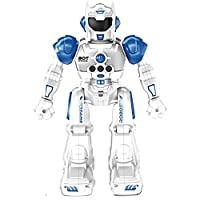 Top Race Remote Control Robot For Kids - RC Robots With LED Lights, Infrared Control Toys; Singing, Dancing, Speaking,Two Walking Modes, Senses Gesture - Red or Blue