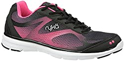 Ryka Womens Illumine Walking Shoe, Black/Neon Flamingo, US 8 M