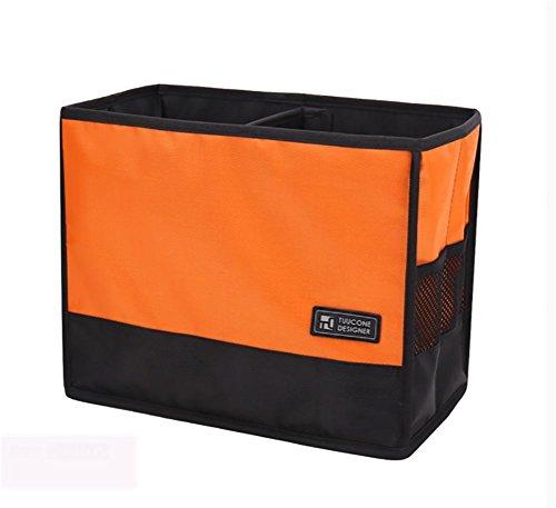RUIRUI Pieghevole Auto Organizer Tronco Per Van, SUV, auto, camion - durevole Ecopelle Cargo Box portaoggetti con coperchio , orange - Nero Cargo Box