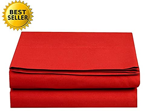 Luxury Flat Sheet Elegant Comfort Wrinkle-Free 1500 Thread Count Egyptian Quality 1-Piece Flat Sheet, Queen Size, Red
