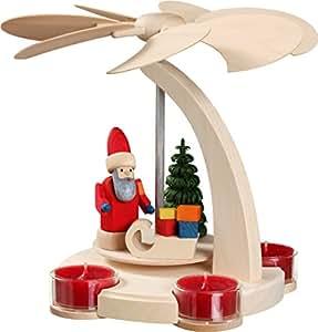 howe deko bogenpyramide weihnachtspyramide f r teelichter weihnachtsmann aus holz natur h he. Black Bedroom Furniture Sets. Home Design Ideas