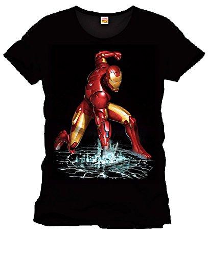 Iron Man - T-shirt Fist - maglietta con motivo del pugno su acqua - Super eroe della Marvel - Licenza ufficiale - Girocollo - Cotone - Nero - M