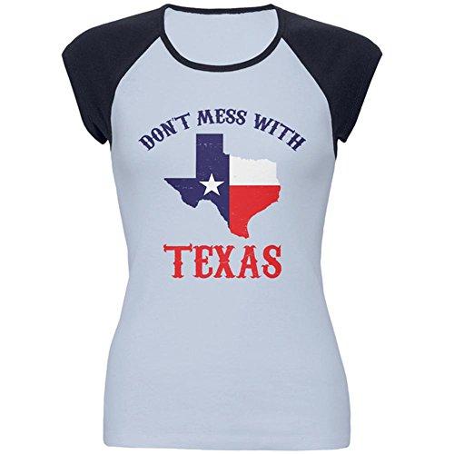 Old Glory Don 't Mess With Texas Juniors Cap-Ärmel Raglan t-Shirt Hellblau-Navy LG (Lg Sleeve T-shirt)