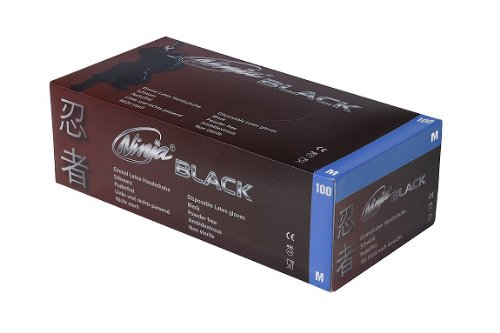 Latex Untersuchungshandschuh Schwarz Ninja BLACK 100 Stück/Box Gr M