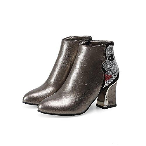 AgooLar Damen Rund Zehe Hoher Absatz Blend-Materialien Knöchel Hohe Rein Stiefel, Gelb, 42