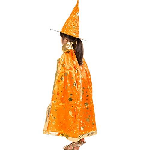 Katze Orange Kostüm Kind - Youliy Hexe Zauberer Kostüm Cosplay Cape - Kürbisschläger Katze Bronzing Print - Rollenspiel-Kostüm für Kinder Orange