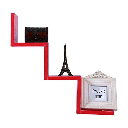 Preisvergleich Produktbild Zerone Hängeregal Wandregal, W geformten Wand montiert Regal Einheit CD DVD Buch Regale Lagerregal für Heimtextilien Rot