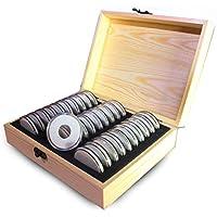 Arvin87Lyly Vitrina Caja 30Rejilla Letona de colección Caja de Madera Monedas aufbewahrungsbox sammelbox 20/25/30/35/40mm Universal