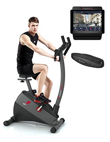 Sportstech VAINQUEUR DE Test Vélo d'Appartement ergomètre ESX500 Commande par Application Smartphone Bluetooth+Google Street View écran 5,5',Poids d'inertie 12 kg,Velo Sport intérieur Maison Fitness
