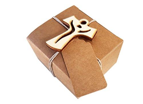 Irpot -20 scatoline portaconfetti avana pudp22 + 20 decorazioni legno + 20 bigliettini (croce)