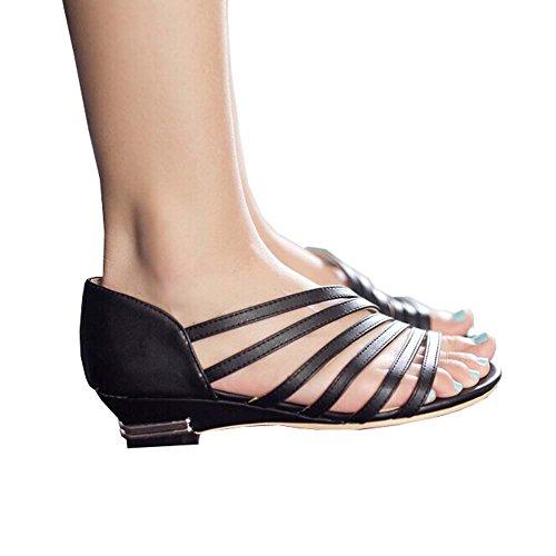 2014 Neue Damen Sandalen Summer Fashion Römersandalen hohl niedrigen Absatzschuhe, Freizeitschuhe Größe Dame 35-41 Schwarz