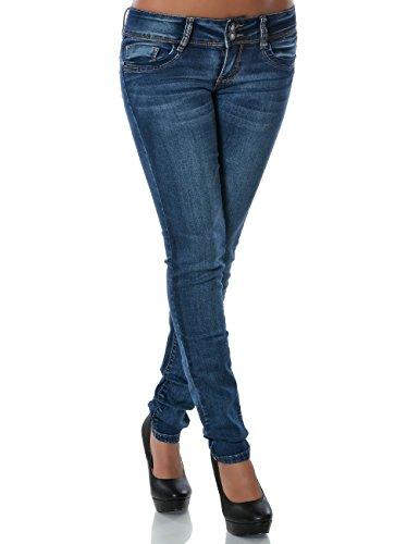 Damen Jeans Hose Skinny (Röhre) No 14151, Farbe:Blau;Größe:36 / S