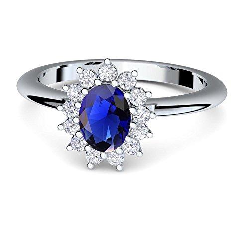 Hat Kate Middleton (***Verlobungsring blauer Stein Saphir von AMOONIC mit SWAROVSKI Zirkonia (wie Kate Middleton) + inklusive Gratis LUXUSETUI! Silber 925 Saphir Ring Silberring 925er FF587SS925SAFAZIFA56)