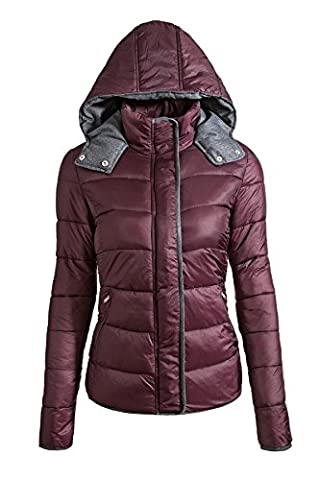 MILEEO Femmes court Veste matelassée chaude avec capuche doublée veste légère pour Automne Hiver élégant manteau