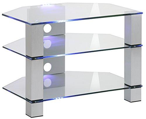 MAJA Möbel TV-Rack, Glas, Metall Alu-Klarglas, 70,00 x 50,00 x 50,00 cm