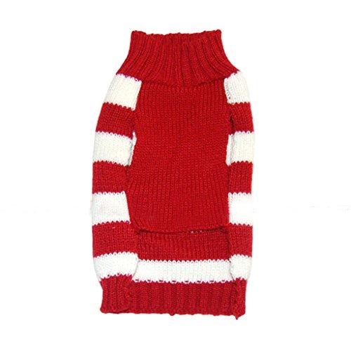 Weihnachten Rentier Rot Weiss Gestreiften Pullover Warme Kleidung Fuer Hunde M - 3