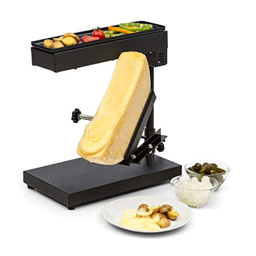 Klarstein Appenzell Peak Raclette con Grill - Para Queso, Altura regulable, giratorio y reclinable, 1000 W, Regulador temperatura, Interruptor termostato, Acero inoxidable, Negro
