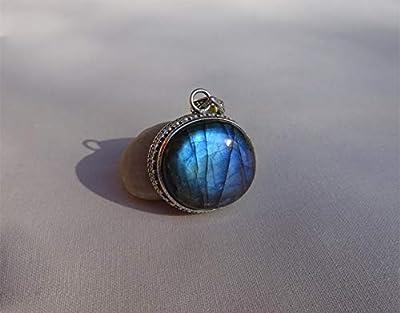 Pendentif ethnique, pedentif en labradorite bleu, bijoux labradorite, agent Massif 925, pierre bleu, ethnic style, pièce unique, pendentif sans la chaîne