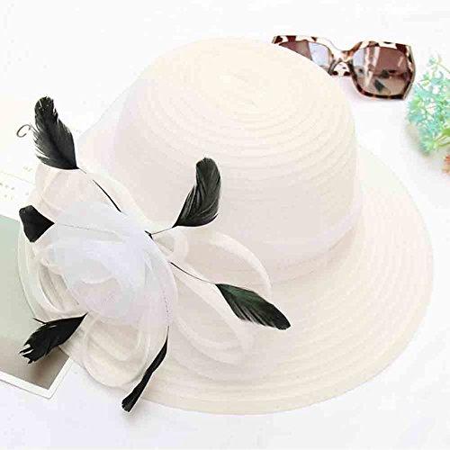 BAIYICHEN Damen Sonnenhut Frauen-Visier-Hut-Damen-Deckel-zarte Feder-Dekoration-Organza-Strohhut-Breathable Sonnenhut-Sommer-im Freienstrand-Eimer-Hüte (Farbe : Weiß)