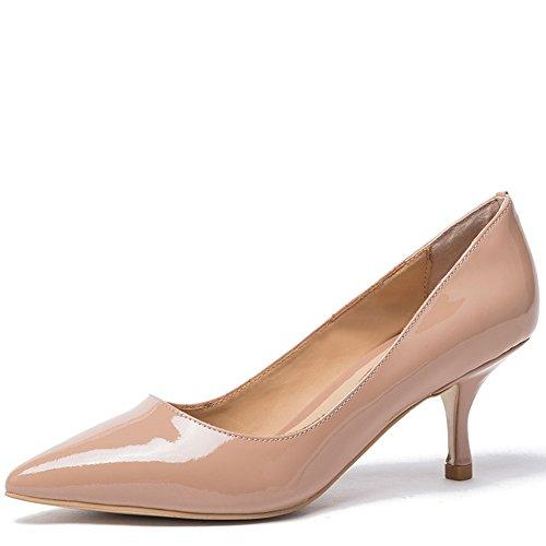 Damen Spitz Pumps Lackleder Kitten Heel Absatz Pointed Toe Klassischer Damenschuh Beige (39, Nude patent)