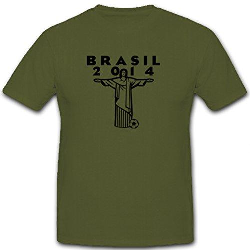 Brasilien 2014 Rio de Janeiro Fussball WM Fußball Meisterschsaft Weltmeister Deutschland Sieger Champion - T Shirt Herren oliv #10611 (Us-fußball-wm)