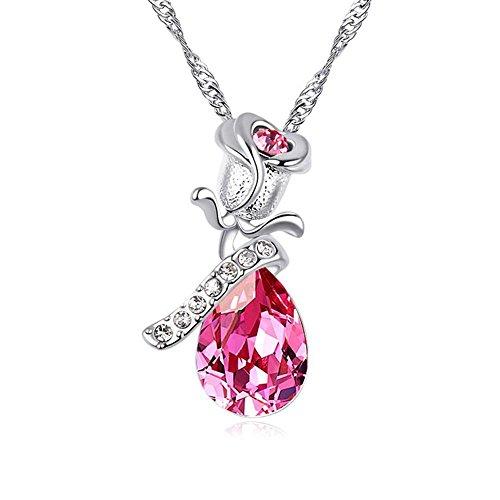 Haixin Collier en cristal en forme de coeur Ocean avec Swarovski element pendentif pendentif taille (2.7cmx1.5cm)