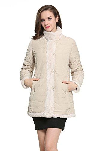 Ovonzo Delle Nuove Donne di inverno Faux Fur Coat Reversibile con Stand Collare Beige Taglia XXL