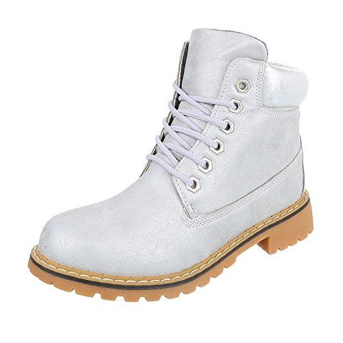 Schnürboots Damenschuhe Combat Boots Blockabsatz Schnürer Schnürsenkel Ital-Design Stiefeletten Silber