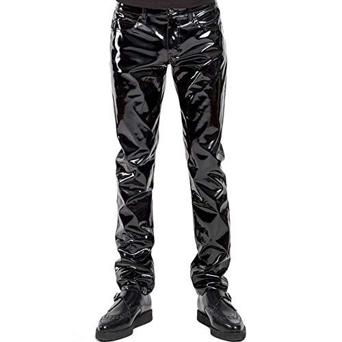 Herren Unterwäsche Nasses Aussehen Sexy Lackleder Lange Hosen Markieren PVC Atmungsaktiv Bar Nachtclub Gamaschen,XXL -