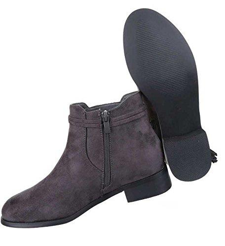 Damen Stiefeletten Schuhe Chelsea Boots Mit Stretch Schwarz Camel Grau 36 37 38 39 40 41 Grau