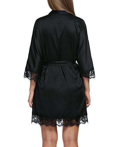 HOTOUCH Damen Satin Kimono Nachthemd Nachtwäsche Pyjama Set Morgenmantel Bademäntel Schlafanzüge Mit Tiefer V-Ausschnitt Blumenspitze Typ3-Schwarz