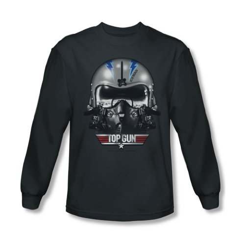 Top Gun - Herren Helm Iceman Langarm-Shirt in der Holzkohle Charcoal