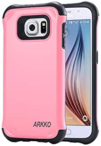 Galaxy S6 Case, Arkko [Tough Shield] Slim fit Bumper Corner [Drop Protection] Soft Interior Scratch Resistant Perfect-Fit [Shock Absorbing] Hybrid Hard Armor Protection Pink 11s601pk