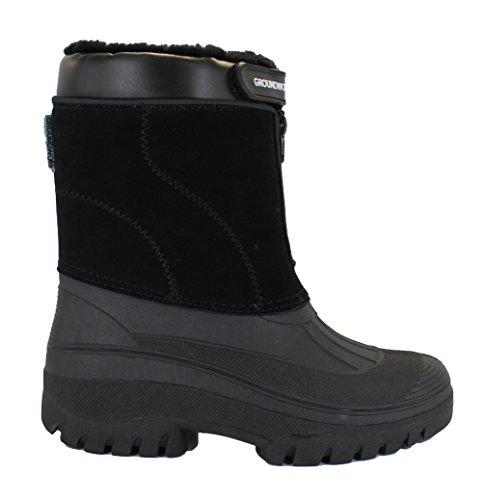 Groundwork LS88- Stivali in gomma da donna, per stalla, fattoria di campagna o neve, con cerniera di chiusura Black