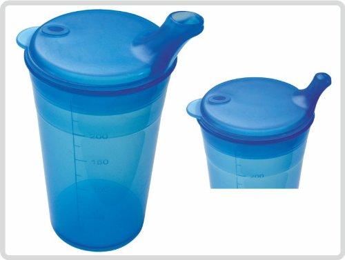 Schnabelbecher mit Deckel für Tee und Brei mit kurzem Mundstück, Farbe: Blau - Schnabeltasse Trinkbecher Einnehmebecher