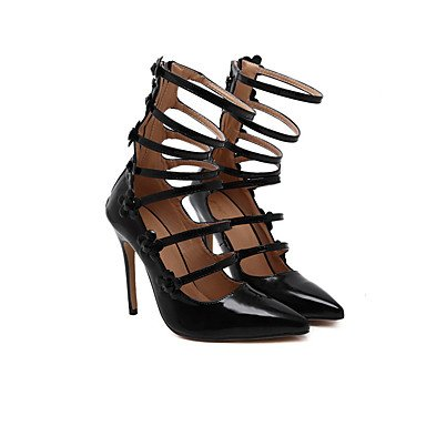 Moda Donna Sandali Sexy donna tacchi Primavera / Estate / Autunno in pelle Slingback Party & sera abito / Stiletto Heel Zipper nero a piedi Black