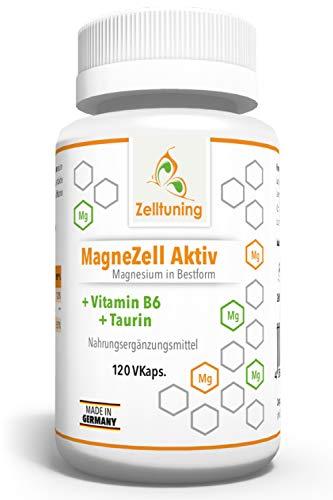 Zelltuning Magnesium • MagneZell Aktiv • OPTIMAL BIOVERFÜGBAR • Pur Vegan Rein • 120 Kapseln Hochdosiert • 6 FACH Magnesium Komplex + Vitamin B6 & Taurin • OHNE Magnesiumstearat!