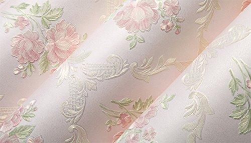 UCCUN Romantische Blumen Wallpaper 3D geprägte Pastoral Non-Woven Tapete Wohnzimmer Schlafzimmer Hintergrund Wandverkleidung Papel de Parede, Rosa, 53 CM X 10 M
