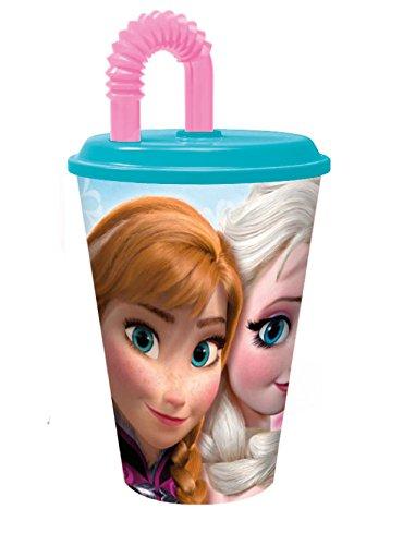 Disney Verre Frozen Reine des NEIGES + Paille 12 X 9 CM Rose 430 ML