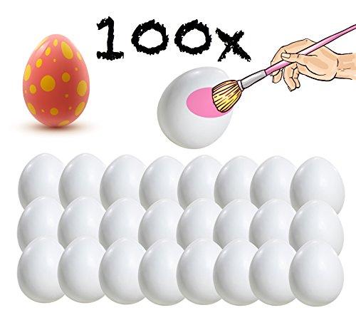 ier 6 cm Plastikeier Eier für Ostern Zum Basteln Bemalen aus Plastik, Kunststoff Weiß Kunststoffeier für Deko Dekoration Weiß ()