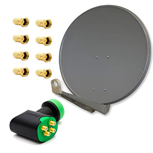 PremiumX DELUXE80 Satellitenantenne 80 cm Alu Anthrazit GDQS Quad LNB Full HDTV 4 Teilnehmer 4 Fach Direkt Quattro Switch 4K